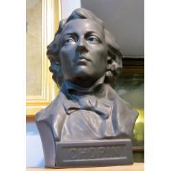 Chopin, popiersie z czarnej ceramiki , manufaktura