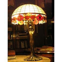 Duża lampa z witrażem ,brąz lata 60-te  XXw