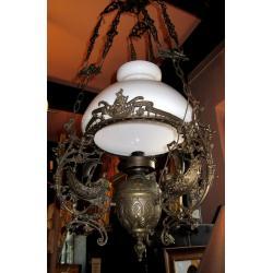 Żyrandol, lampa naftowa z motywem  marynistycznym