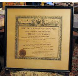 Dyplom nadania  obywatelstwa Nowego Yorku z 1939