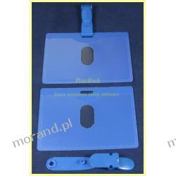 identyfikator niebieski tyl z zawieszka plastik