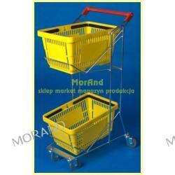 wozek metal dwupoziom pietrowy do plastik koszyk sklep market 050