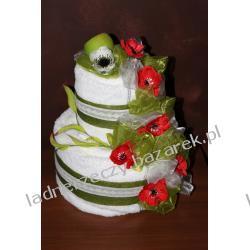 Wiosenny tort z ręczników - biało - zielono - czerwony.