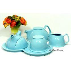 Zestaw do herbaty Blue dzbanek cukiernica mlecznik