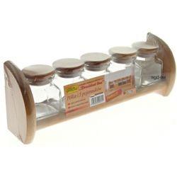 Zestaw 5 pojemników szklanych na półce drewnianej
