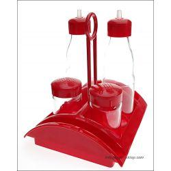 Zestaw do przypraw stołowy 5el. szkło czerwony