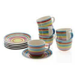 Filiżanki + spodki Ceuta Ring ceramika 12cz.