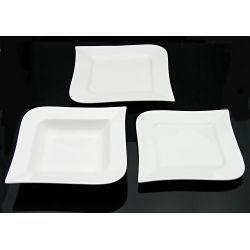 Serwis obiadowy 18cz kwadrat fala porcelana