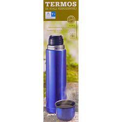 Termos nierdzewny 0,75L z przyciskiem niebieski Termosy