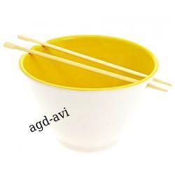 Miska z pałeczkami do sushi żółte porcelana Sushi
