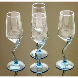 4-Kieliszki do szampana CURL ICE BLUE Luminarc