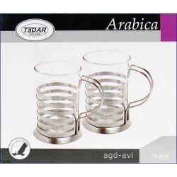 Szklanki w metalowym uchwycie Arabica
