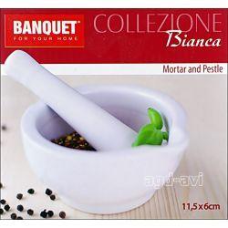 Możdzierz porcelanowy z tłuczkiem BANQUET ecru