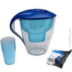 Dzbanek filtr do wody 3Lniebieski wkład Mg+4 kubki Parowary