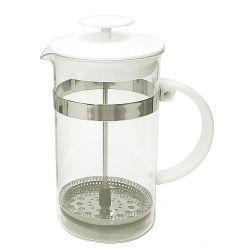 Dzbanek zaparzacz tłokowy do herbaty, ziół biały 1L