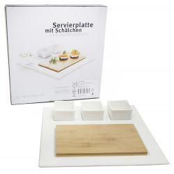 Talerz z deską bamusową 3 salaterki kwadrat Domestic