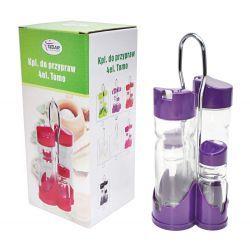 Zestaw do przypraw stołowy 5el. szkło plastik fiolet Tostery i opiekacze