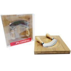 Nóż krajacz siekacz do ziół z deską bambusową