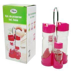 Zestaw do przypraw stołowy 5el. szkło plastik różowy Czajniki