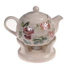 Dzbanek z podgrzewaczem Róże ceramika