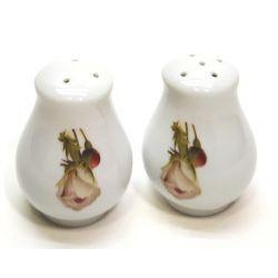 Solniczka + pieprzniczka porcelana różyczki