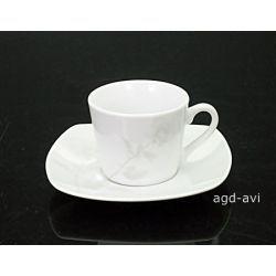Zestaw 4 filiżanek ze spodkami Quadro Rose Espresso