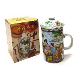 Kubek do ziół, herbaty z zaparzaczem porcelanowym Kubki
