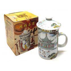 Kubek do ziół, herbaty z zaparzaczem porcelanowym