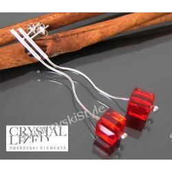 Kolczyki SWAROVSKI  Cube Siam czerwone 242
