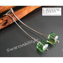 Kolczyki SWAROVSKI  Cube Peridot zielone 241