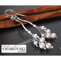 Kolczyki SWAROVSKI I długie slubne perły 277