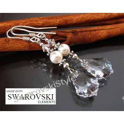 Kolczyki SWAROVSKI baroque perły ślub 234