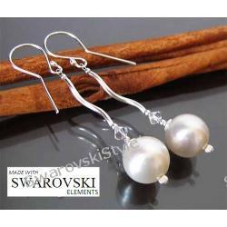 Kolczyki SWAROVSKI białe duże perły 303