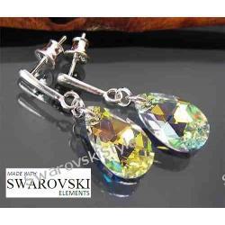 Kolczyki SWAROVSKI crystal AB migdały 405