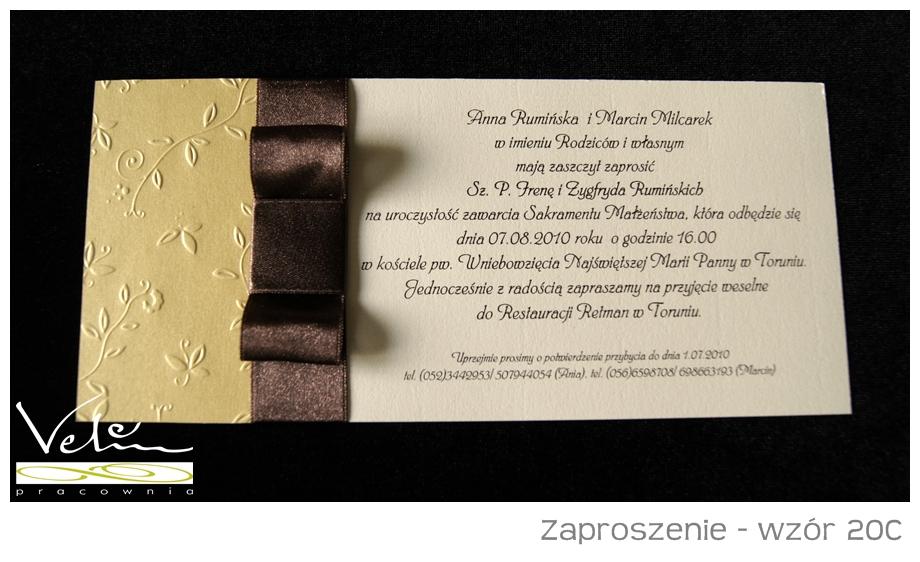 Zaproszenie ślubne Wzór 20c Na Bazarekpl