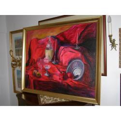 Obraz olejny MARTWA NATURA S. Wróblewski 110x90cm po 2000