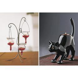 Podstawka pod swiece votive lub tealight-czarny kot