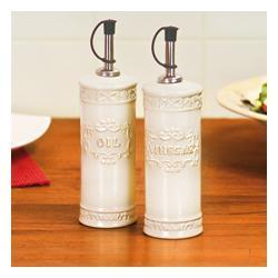 Ceramiczne butelki na ocet i oliwę