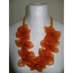Naszyjnik z organzy - Pomarańczowy zawrót głowy
