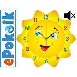 SŁONECZKO drewniany zegar ścienny CICHY MECHANIZM Zegary