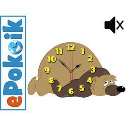 MIŚ drewniany zegar ścienny (L) CICHY MECHANIZM Zegary