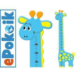 ŻYRAFKA niebieska drewniana miarka wzrostu dla dzieci Miarki wzrostu