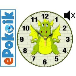 SMOK drewniany zegar ścienny dla dzieci (O-zielony) Dekoracje i ozdoby