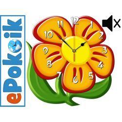 Kwiatek drewniany zegar ścienny CICHY MECHANIZM  Zegary