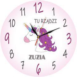 Jednorożec BEZGŁOŚNY Zegar Płynący PERSONALIZACJA Pokój dziecięcy