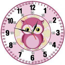 Edukacyjny zegar ścienny dla dzieci Sowa Pokój dziecięcy