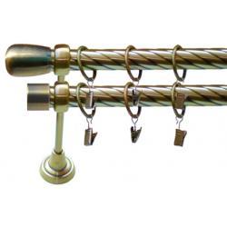 Karnisz TURAKO TWISTER 25/25mm antyk mosiądz
