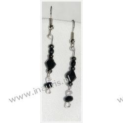 Czarne kryształki i perełki na długich kolczykach
