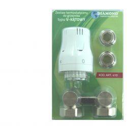 """Zestaw termostatyczny do grzejnika 1/2"""" typu V, kątowy Rury i kształtki"""