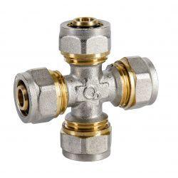 Czwórnik skręcany Pex, ⌀ 20 mm × 20 mm × 20 mm × 20 mm, chromowany Rury i kształtki